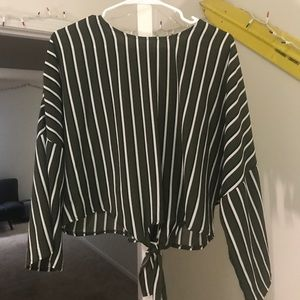 Charlotte Russe Green striped top